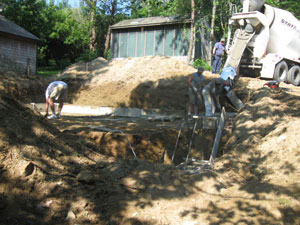 Pouring the footings (July)